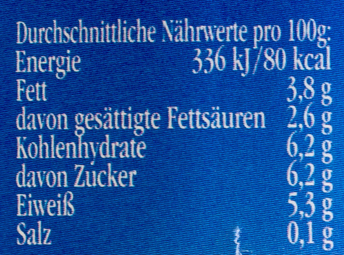 Landliebe cremiger Joghurt mild 3,8% Fett - Información nutricional