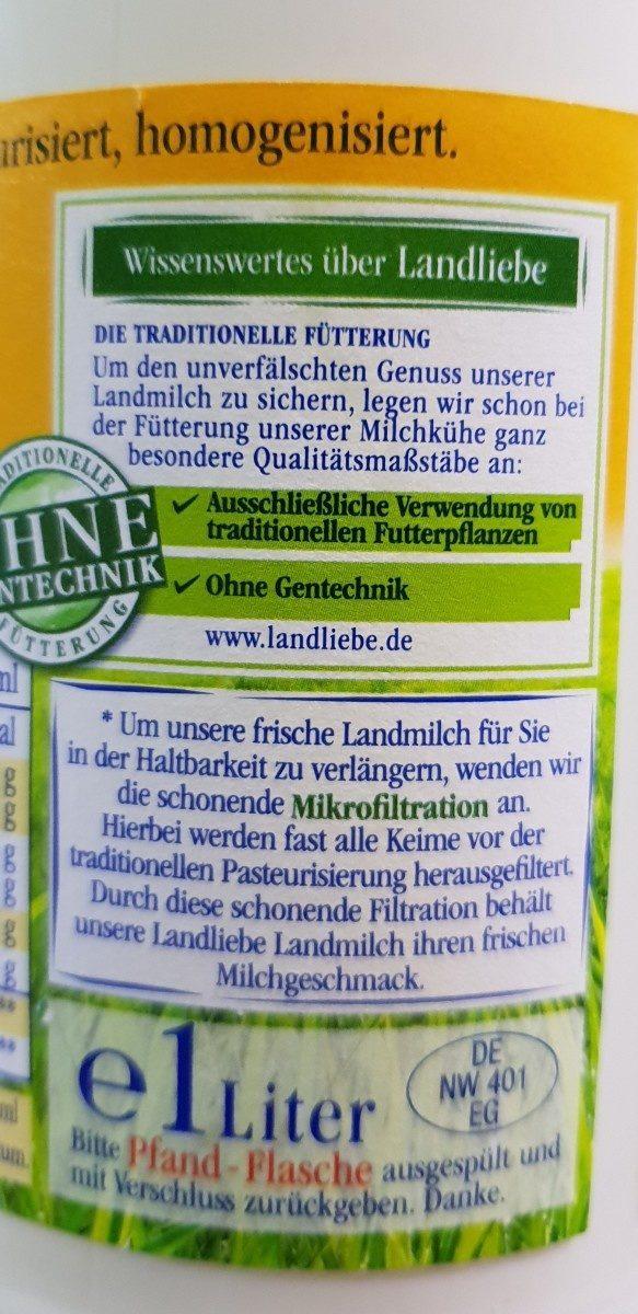 frische Landmilch - Ingrédients - fr