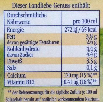 Landliebe frische Landmilch - Nutrition facts - de