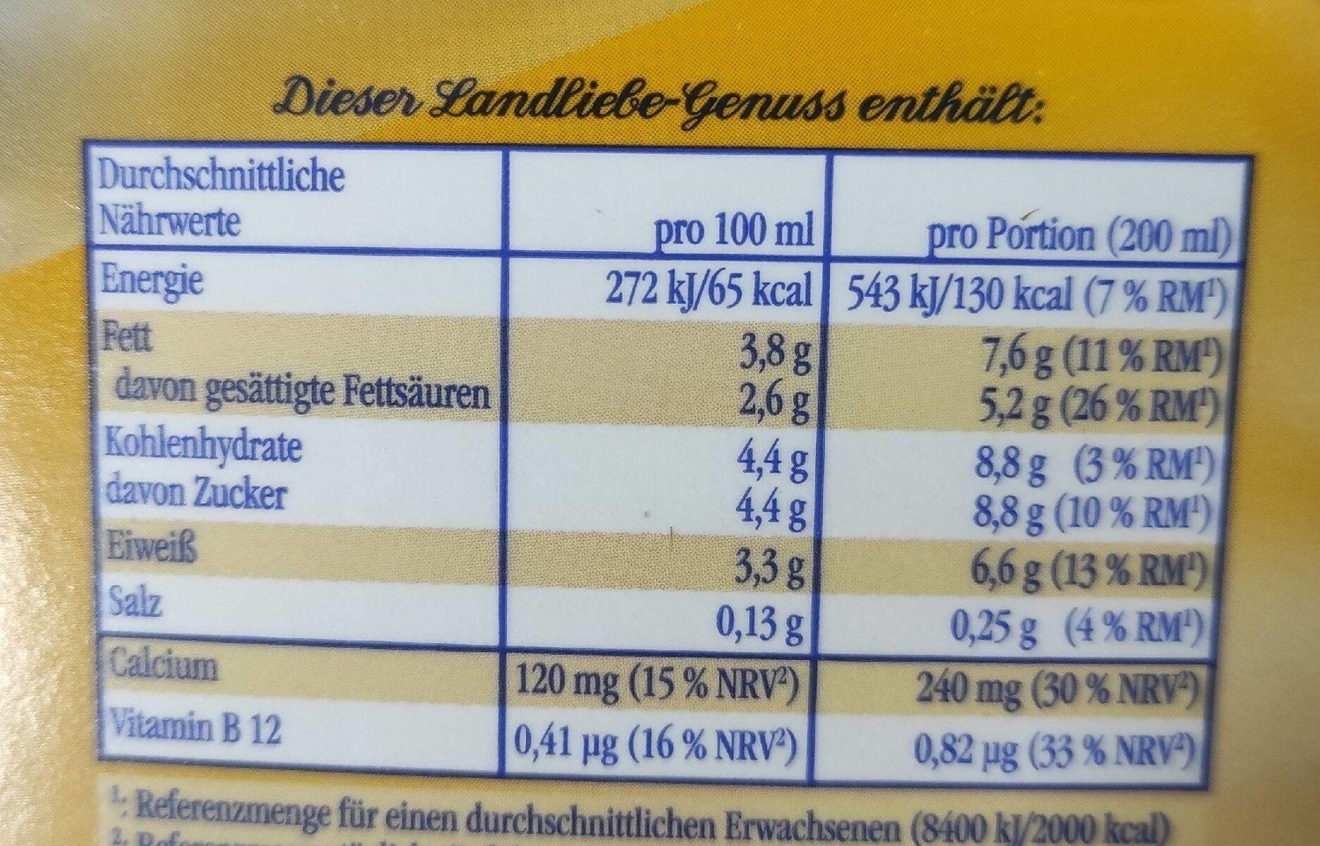 Milch - Nutrition facts - de
