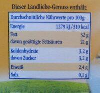 Landliebe Frische Schlagsahne - 500 G - Nährwertangaben - de