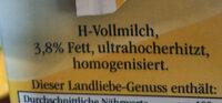 Haltbare Landmilch 3,8% Fett - Ingredients - fr