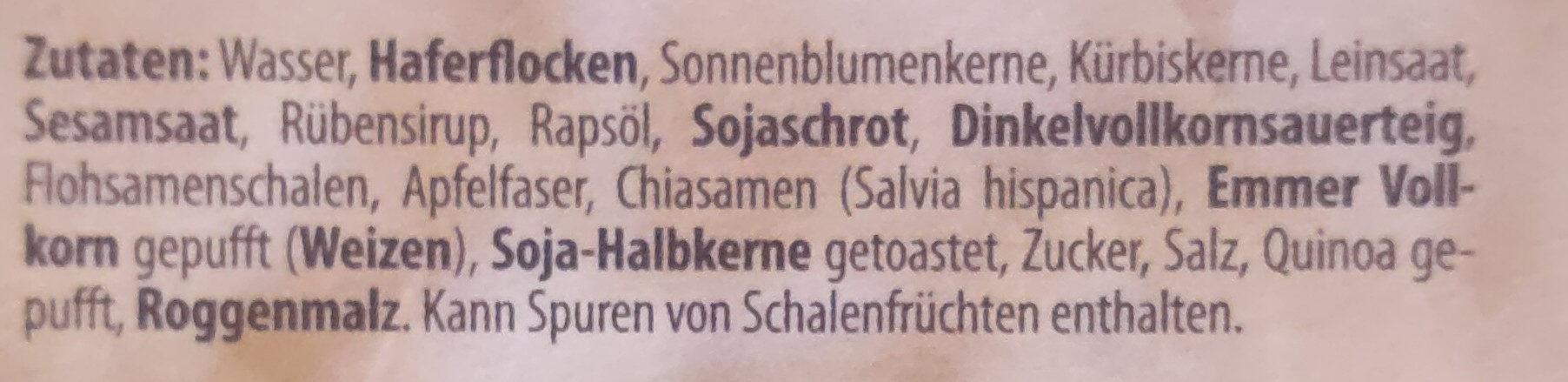 Fitness-Brot Hafer-Vollkorn - Ingrediënten - de