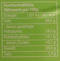 Bio Schnittkäse, in Scheiben, 48% Fett - Informations nutritionnelles - fr