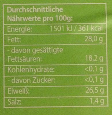 Bio Schnittkäse, in Scheiben, 48% Fett - Informations nutritionnelles
