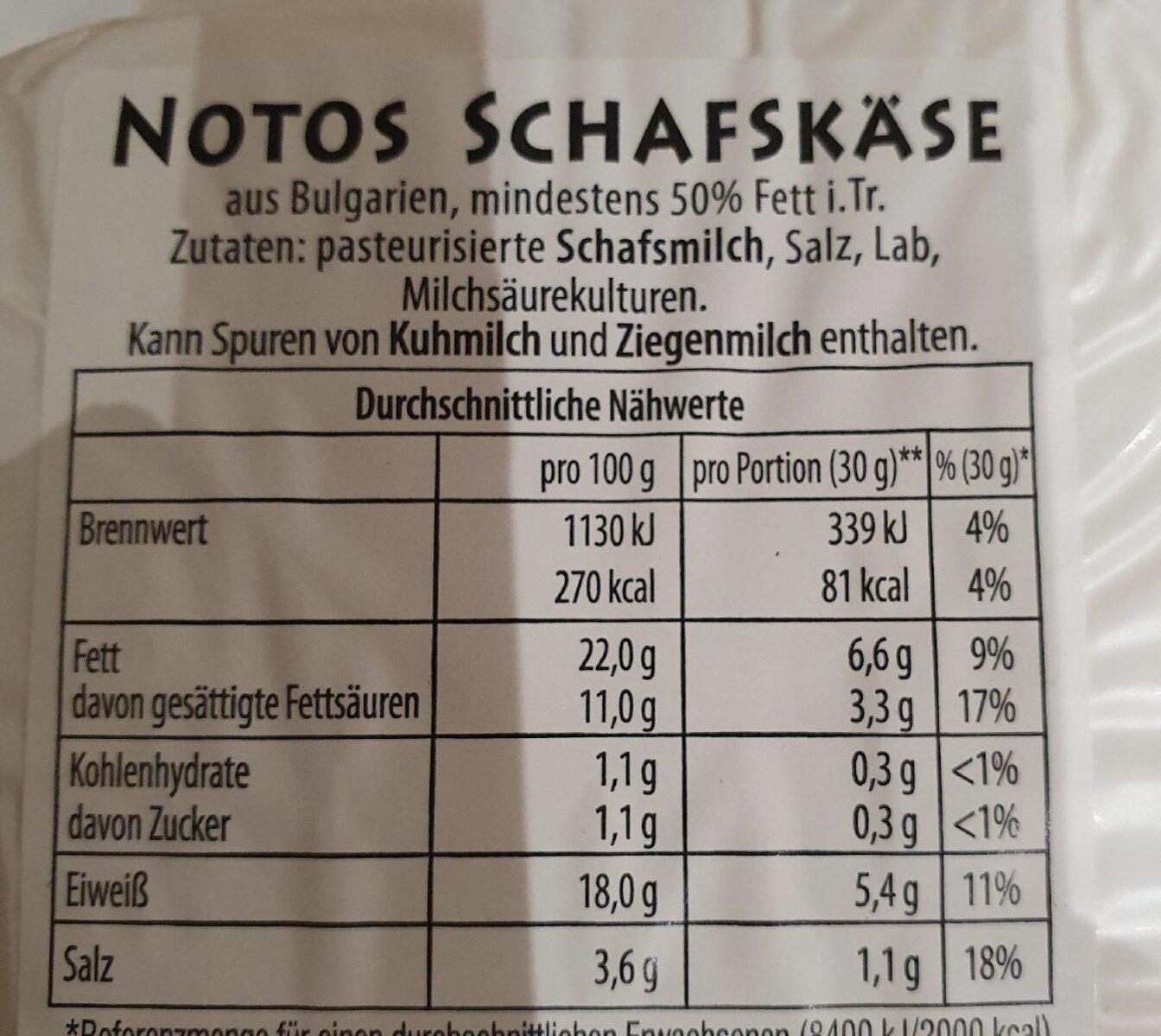 Schafskäse - Nährwertangaben - de