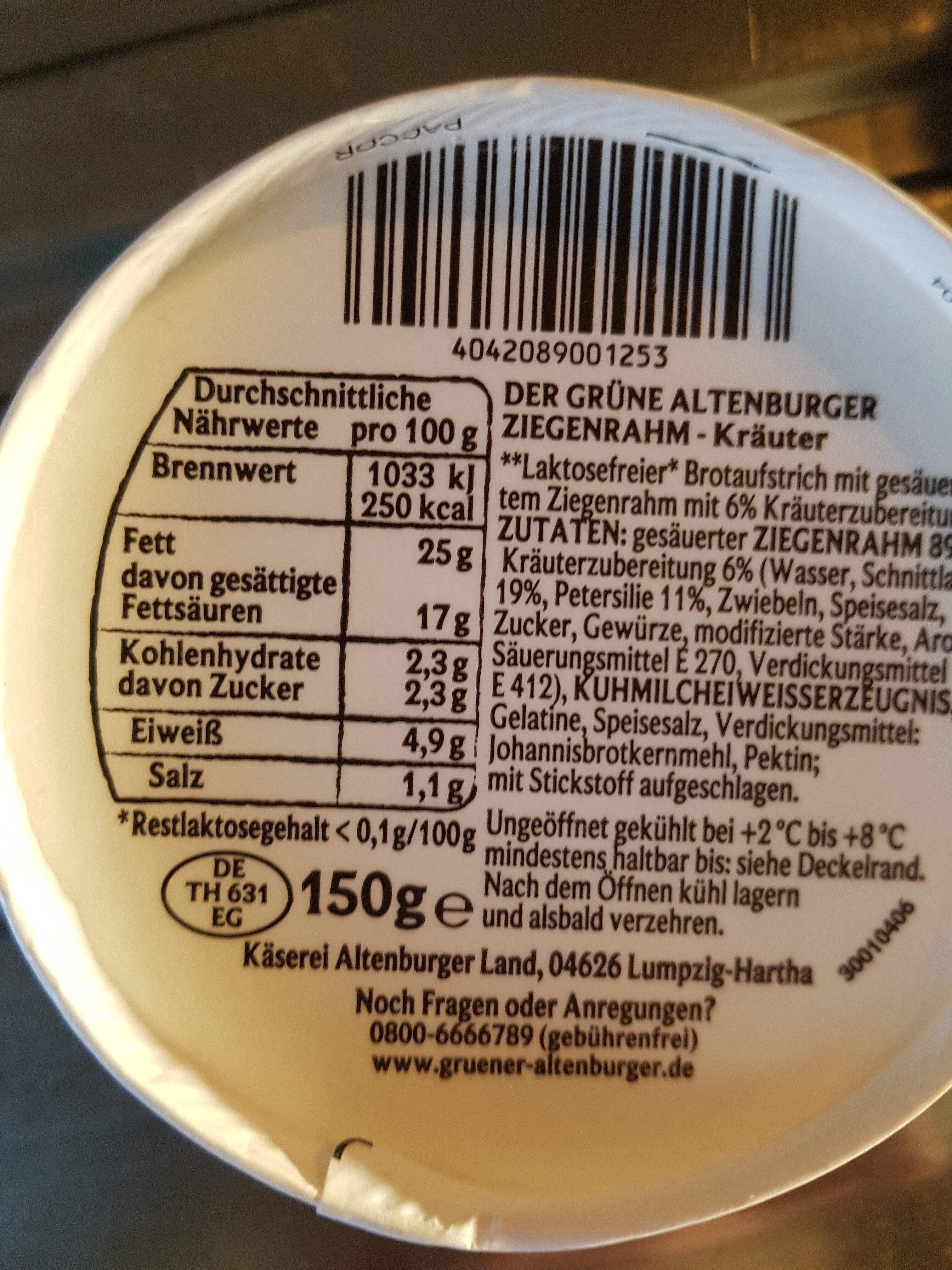 Ziegenrahm - Kräuter - Informations nutritionnelles - de