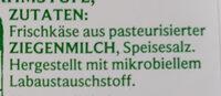 Ziegenfrischkäse - Zutaten - de