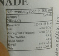 Avanus Orangen-Limonade - Voedingswaarden - de