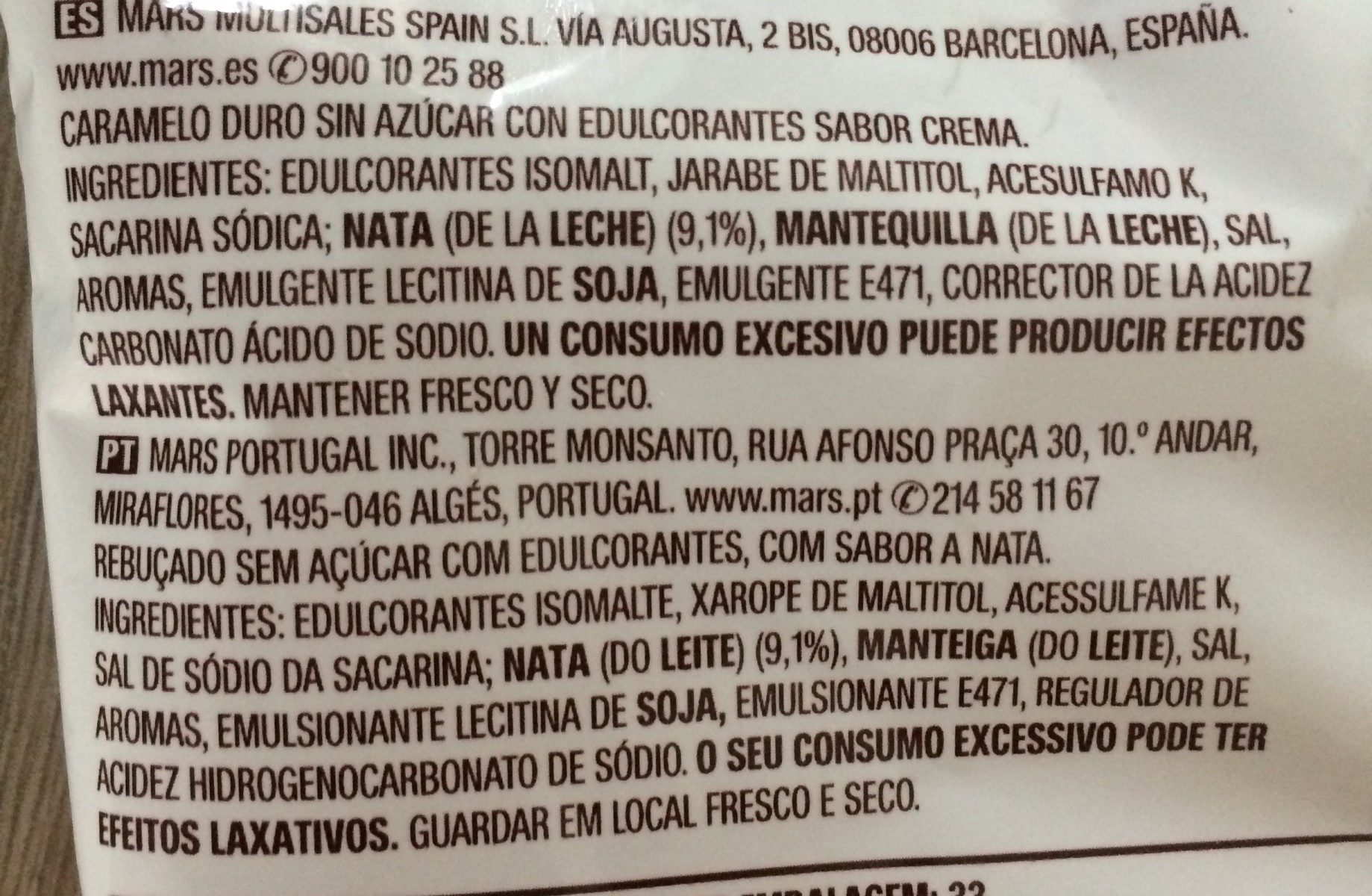 Caramelo tradicional - Ingredients - fr