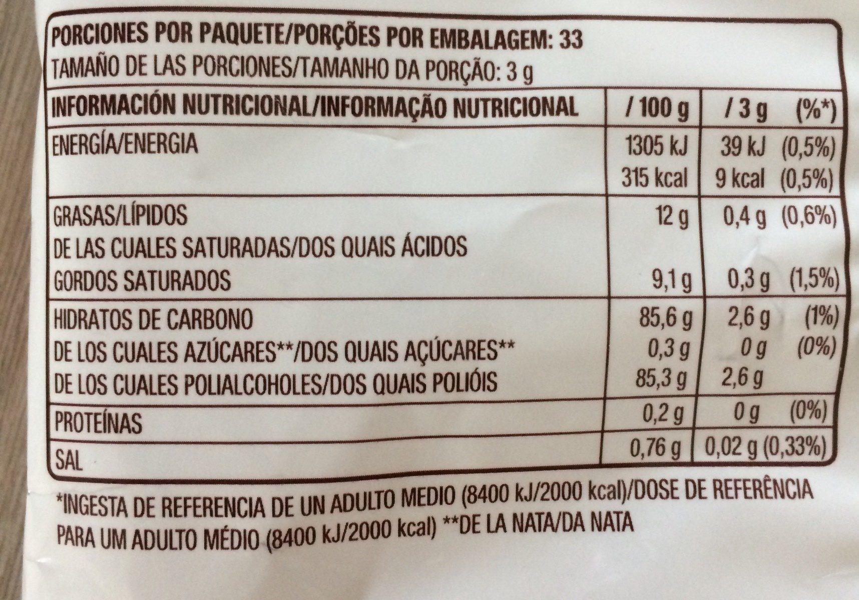 Caramelo tradicional - Informació nutricional - fr