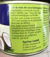 Lait De Coco 200 ML Morgenland - Ingrediënten - fr