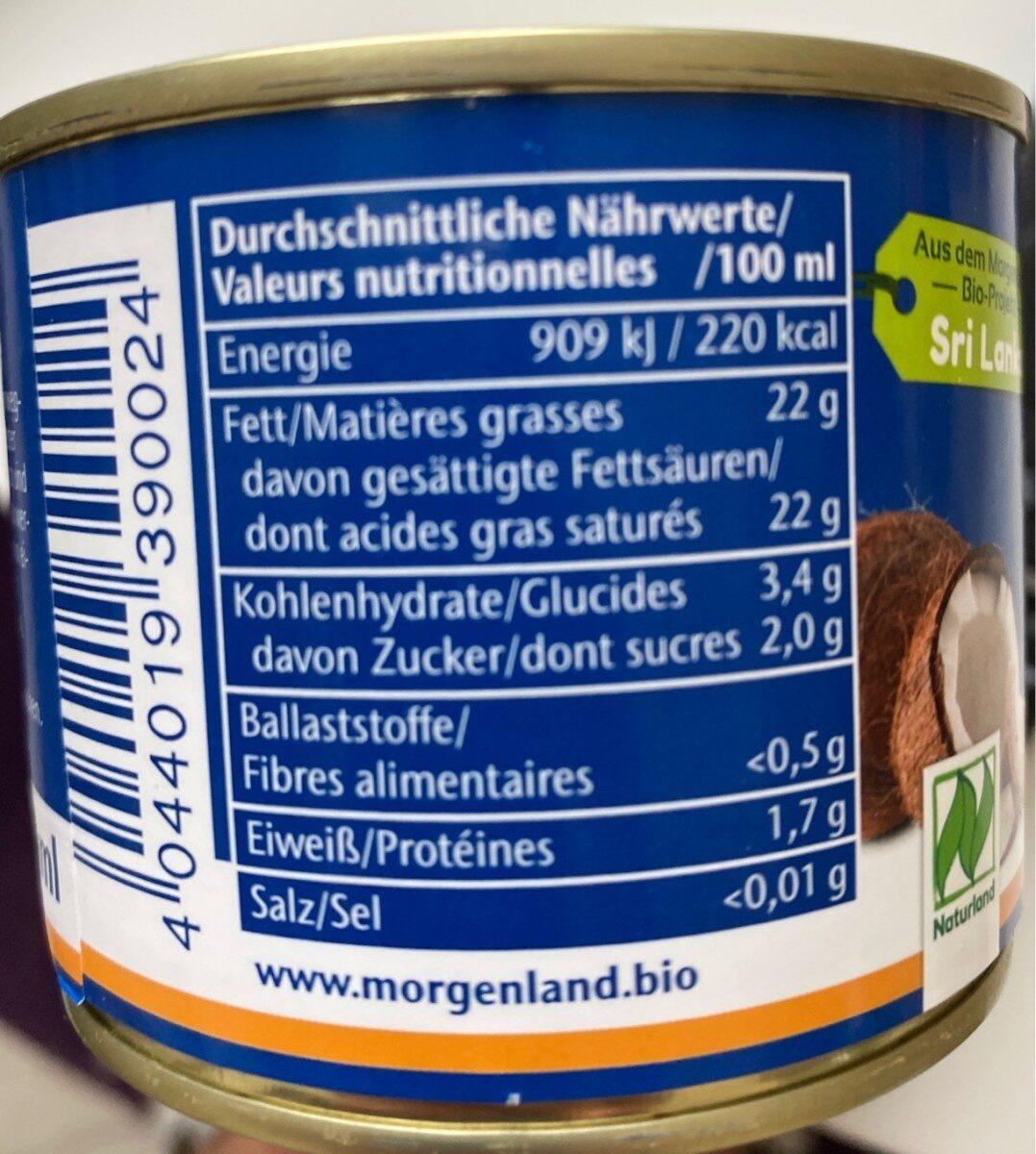 Lait De Coco 200 ML Morgenland - Voedingswaarden - fr
