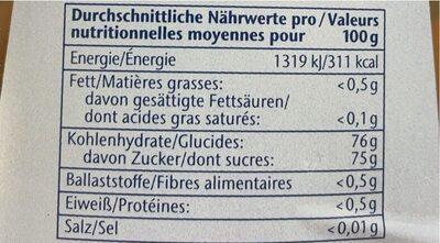 Agavensüße - Nutrition facts - fr