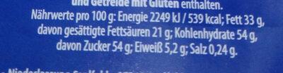 Vollmilch Schokolade - Nutrition facts
