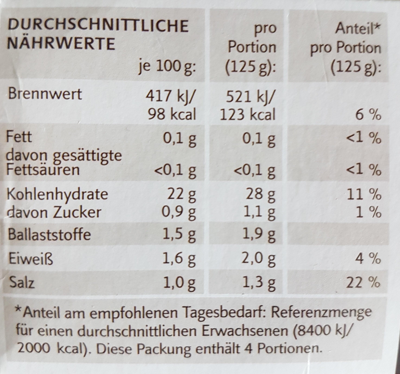 Kartoffelklöße halb & halb - Nutrition facts - de