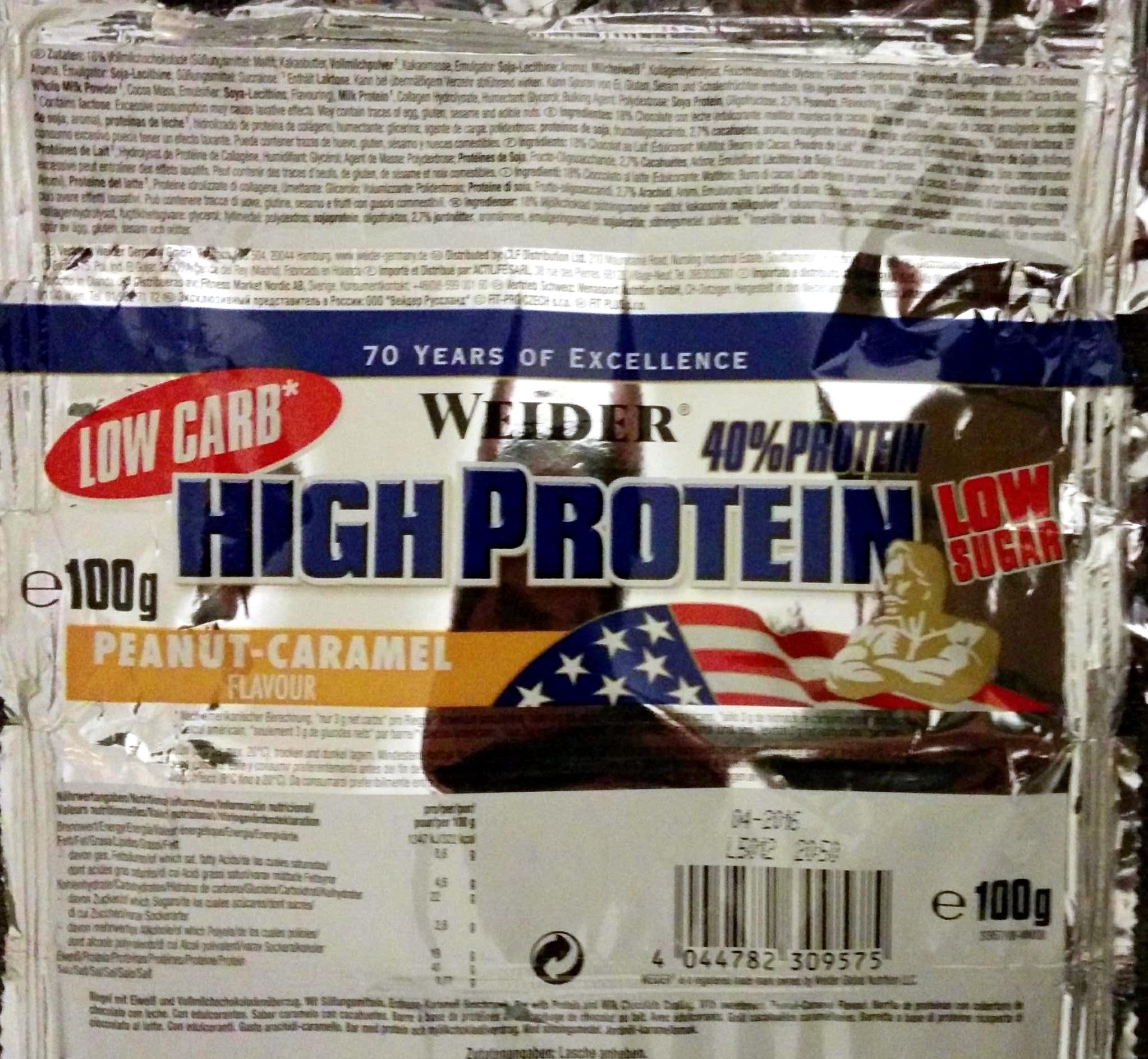 Low Carb, High Protein, Low Sugar, Peanut-Caramel Flavour - Produit - de