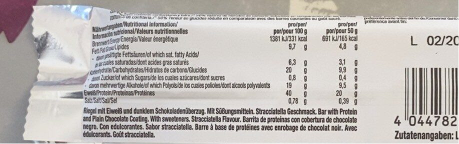 Weider Low Carb High Protein Bar 40%, Stracciatella - Informations nutritionnelles - fr