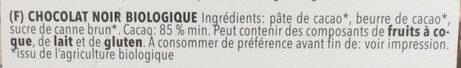 Chocolat noir biologique - Ingrediënten