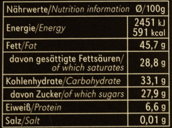 Edel Bitter Chili - Nutrition facts