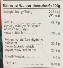 Edel Bitter Chili - Informations nutritionnelles