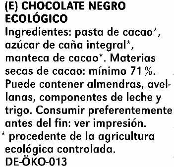 Zartbitter-Schokolade Feine Bitter mit 71 % Kakao - Ingredientes