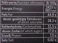 Zartbitter-Schokolade Feine Bitter mit 71 % Kakao - Nährwertangaben