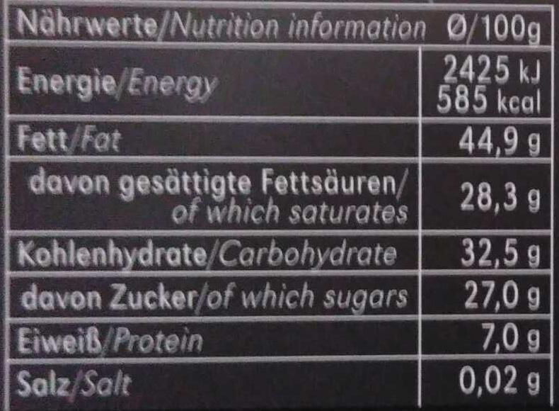 Zartbitter-Schokolade Feine Bitter mit 71 % Kakao - Información nutricional