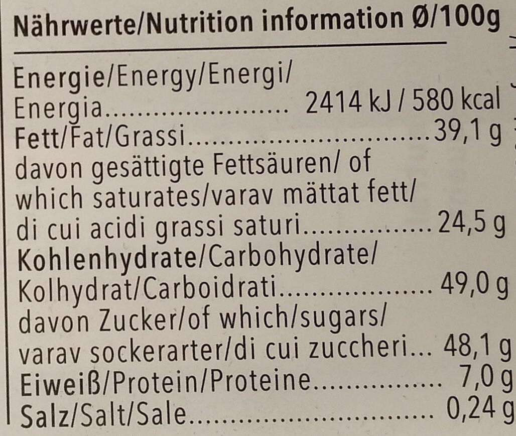 Feine Vollmilch - Voedingswaarden