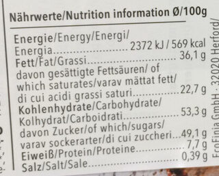 Chocolat blanc croustillant - Voedingswaarden
