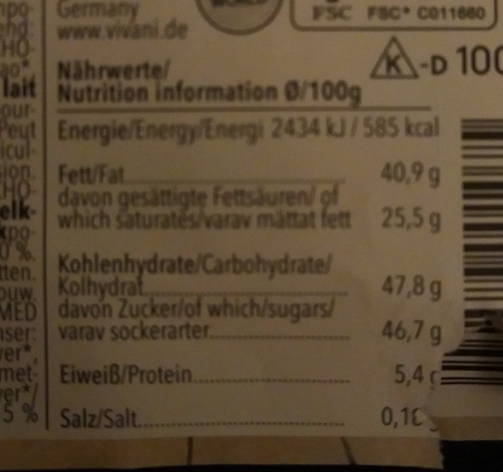 Chocolat Capuccino - Nutrition facts