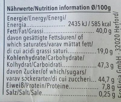 Chocolat Lait Praliné - Nutrition facts