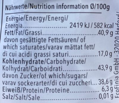 Vivani Chocolat Dunkle Nougat - Voedingswaarden - de