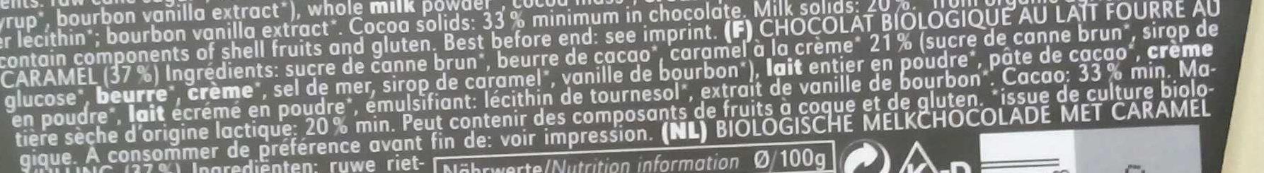 Chocolat au Lait Caramel Crème - Ingrédients