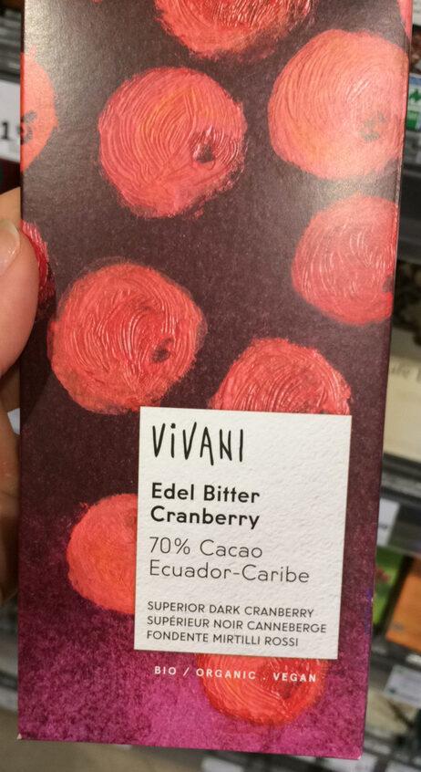 Chocolat supérieur noir biologique au canneberges en morceaux - Product