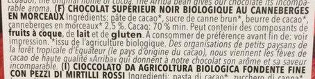 Chocolat supérieur noir biologique au canneberges en morceaux - Ingrediënten