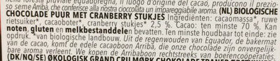 Edel Bitter Cranberry 70% Ecuador-Caribe - Ingrediënten - nl