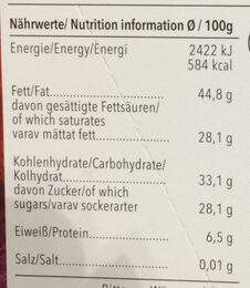 Edel Bitter Cranberry 70% Ecuador-Caribe - Nutrition facts - de