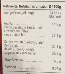 Chocolat supérieur noir biologique au canneberges en morceaux - Voedigswaarden