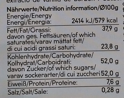 Chocolat de couverture blanc biologique - Nutrition facts - fr