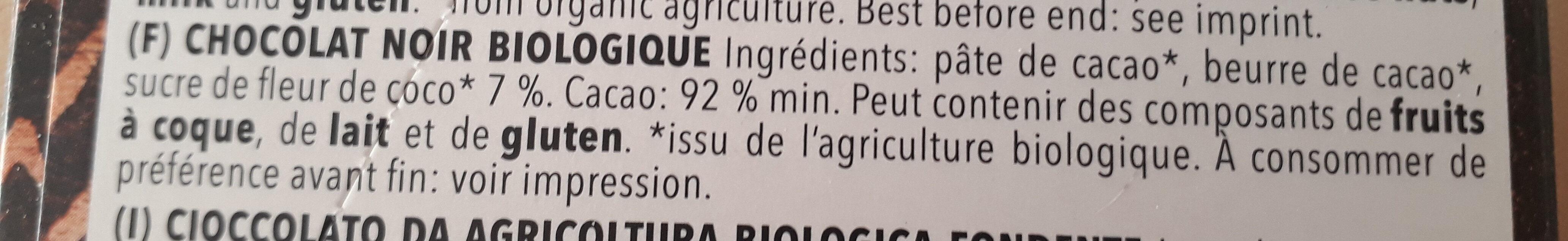 92% Cacao - Ingrédients - fr