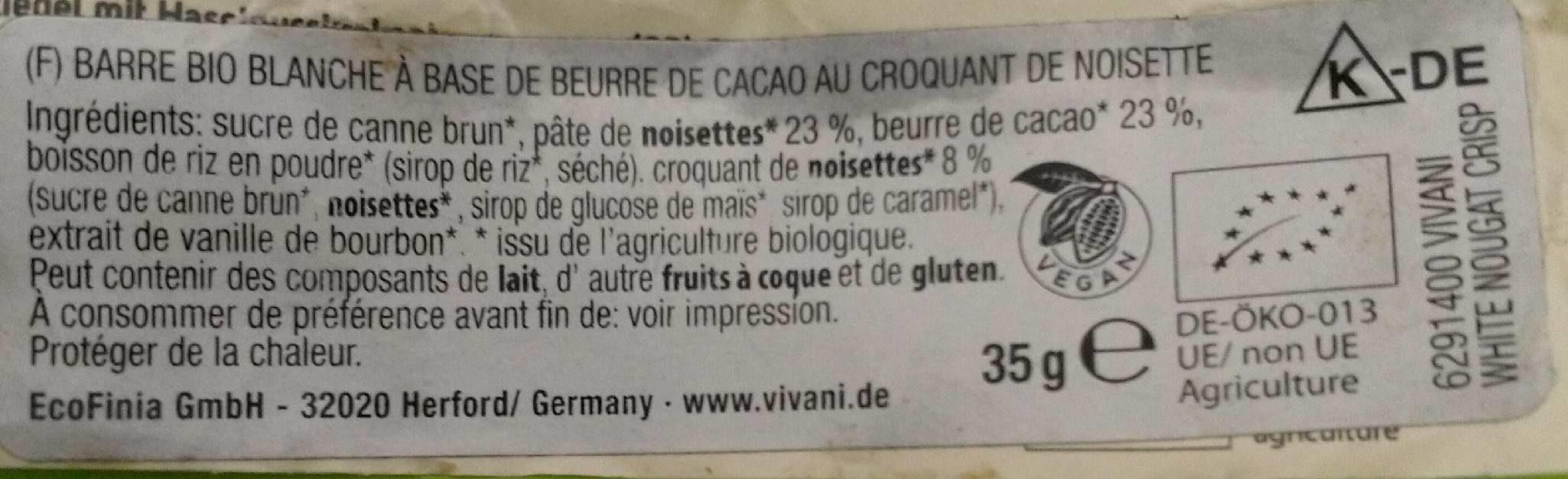 WHITE NOUGAT CRISP rice choc - Ingrediënten - de