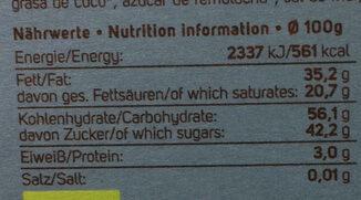 Choco Cookie Vegan - Nährwertangaben