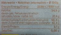 Choco Cookie Vegan - Nutrition facts