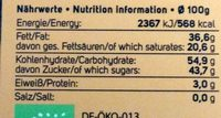 Almond Orange Chocolate - Nutrition facts