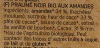 Tumma Suklaa, Manteli-nougat Crisp (sunny Almond) - Ingrédients - fr