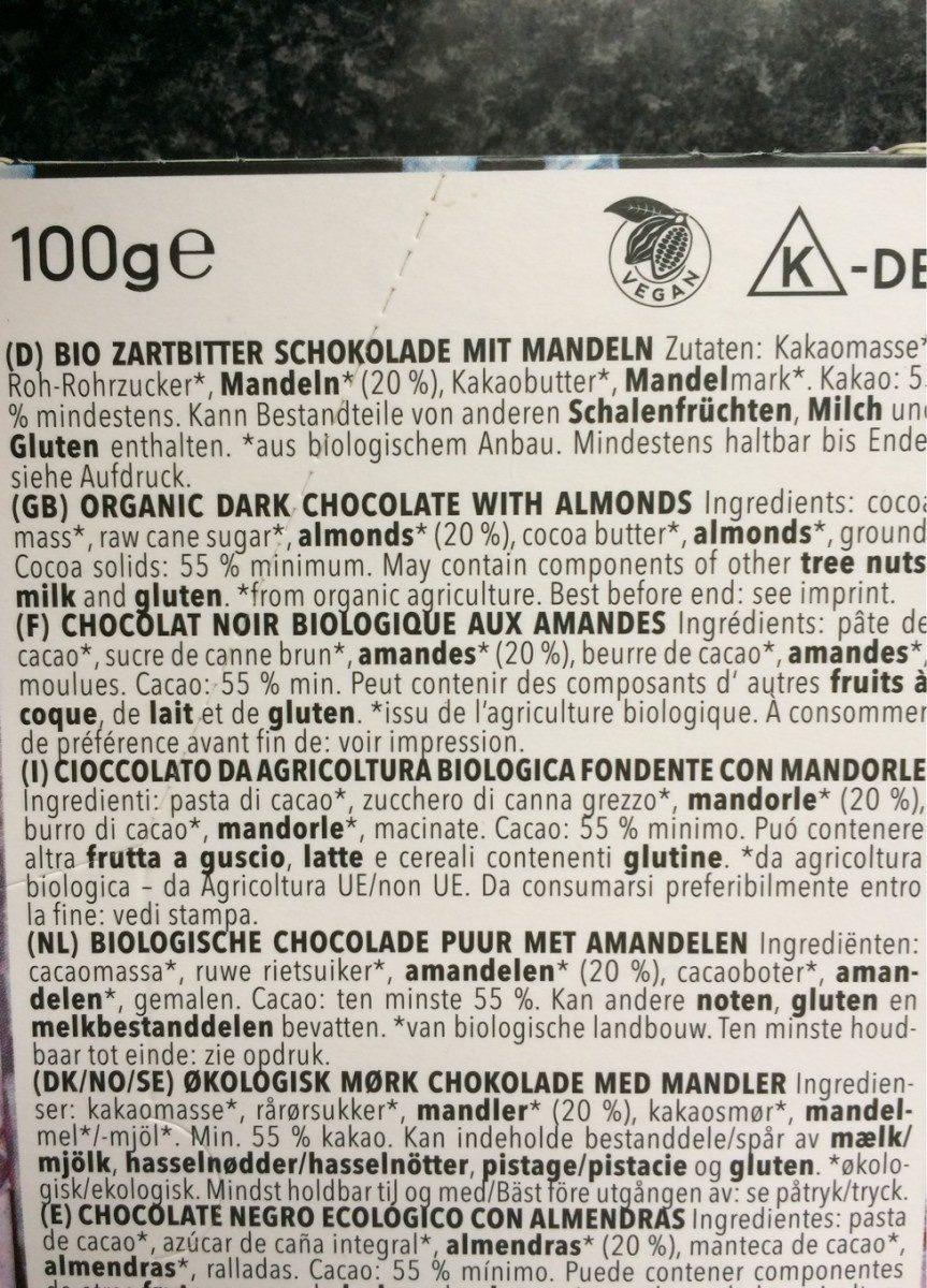 Noir amandes - Ingredients