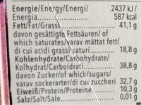 Zartbitter Mandel - Nutrition facts - de