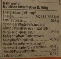 Chocolat VIVIANI Noisettes et Blanc Matte macchiato praliné - Voedingswaarden