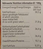 Weiße Vanille - Nutrition facts - de
